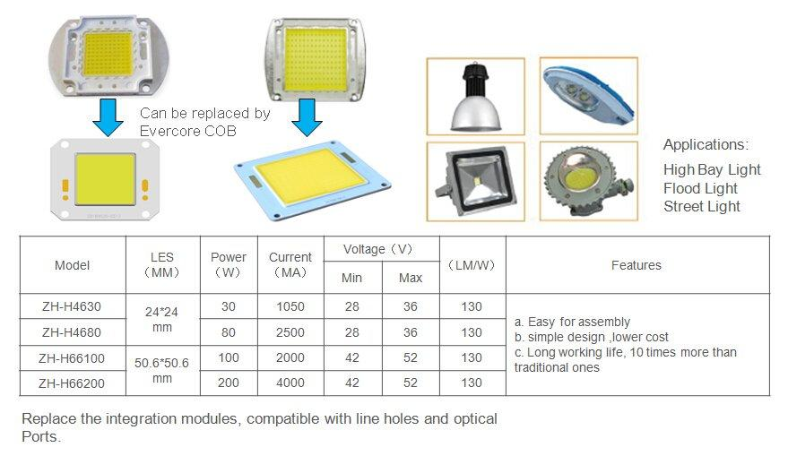 high lighting efficiency cob Cold light Evercore Brand